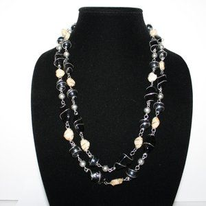 """50"""" silver wire wrapped glass bead necklace"""